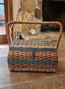 Vintage DRITZ Sewing Basket Hinged Blue Satin Inside