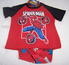 Spiderman Boys Red Printed 2 Piece Cotton Satin Pyjama Set Size 5 New