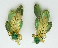 Juliana Green Rhinestone Leaf Gold Tone Clip Earrings Vintage