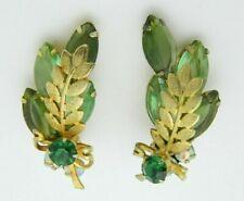 Juliana Green Rhinestone Leaf Gold Tone Clip Earrings Vintage