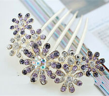 Women Floral Crystal Rhinestone Hair Clips Comb Sunflower Slide Hair Accessories