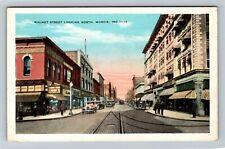 Muncie IN, Walnut Street Looking North, Vintage Indiana Postcard