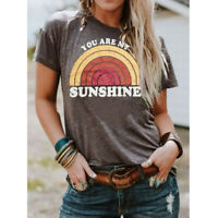"Fashion Womens Short Sleeve Shirt Top""You Are My Sunshine Rainbow""Casual T-Shirt"