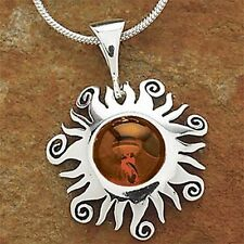 "Sterling Silver Baltic Honey Amber Sun Necklace 1"" & Sterling Silver Chain"