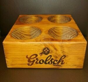 Grolsch Solid Wood Wooden Bottle or Pint Glass Tray Carrier Display & Beer Mats
