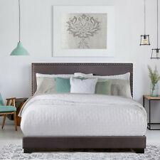 Queen Size Upholstered Bed Frame With Wood Slats Platform Headboard Mattress NEW