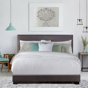 Queen Size Upholstered Bed Frame With Wood Slat Platform Headboard Nailhead Trim
