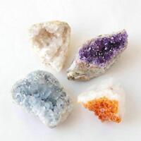 Amethyst Citrine Celestite Geode Druzy Collection Purple Gold Blue Sparkle 4 Lot