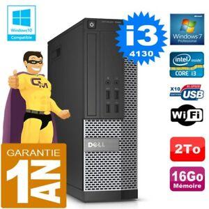 PC DELL 7020 SFF Core I3-4130 Ram 16Go Disque 2 To Graveur DVD Wifi W7