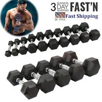 NEW CAP Coated Rubber Hex Dumbbell SETS 10, 20, 30, 40,50 LBS IN HAND