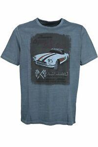Kitaro T Shirt Herren Kurzarm Rundhals Baumwolle Dunkelblau Größe XL 3XL