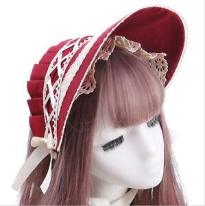 Lolita Girls Lace Bowkont Bonnet Headband Victorian Costume Headwear 4 Colors