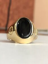 14k Yellow Gold & Onyx Ring Men's Jewelry