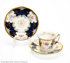Antique Coalport China Blue Batwing Coffee Cup, Saucer & Side Plate Trio