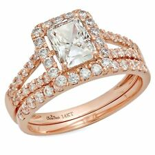 1.60 ct Emerald Cut Halo Bridal Engagement Wedding Ring Band Set 14k Rose Gold
