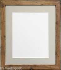 """25mm Wide H7 Rustic Oak Picture Photo Frame With Light Grey Mount 30""""x20"""" for A2"""
