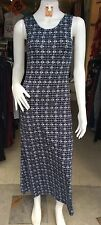 Blue/White Wide Straps Irregular Print Clubwear/Casual  Long Dress Size 8-10