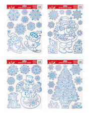 Christmas Large  Snowflake Window Stickers Glitter Santa,Xmas Tree Penguin Decor