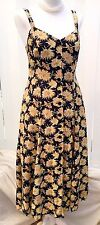 Vintage Day Dress 8-10 Summer Floral Black Yellow Strappy Sun Tea 40s 50s 80s