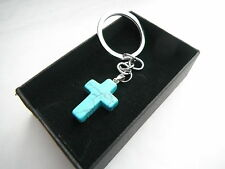 Turquoise Cross Keyring Chrome Metal Keychain Gift Boxed BRAND NEW