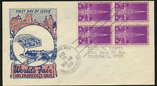 Golden Gate Exposition 1939 addressed Cachet FDC Block Unsealed LOT A265