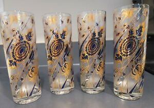 4 CULVER SKYBALL glasses Navy blue frosted FLOWERS Tom Collins Iced tea SIGNED