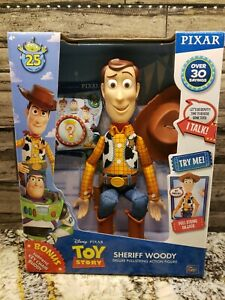 Toy Story Talking Sheriff Woody Deluxe Pull-String Action Figure Brand New
