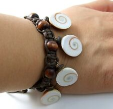 "6! Eye of Shiva Shell Beads and Waxed Cord bracelet 6""-10"" adjustable ; Da069"