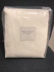 New Restoration Hardware Brushed Belgian Linen Cotton Drapery Curtain White $319