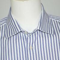 SUITSUPPLY Slim Fit Egyptian Cotton Blue White Striped Dress Shirt Sz 17 34/35