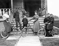 """1897 Group with Bicycles, Junction City, KS Vintage Old Photo 8.5"""" x 11"""" Reprint"""