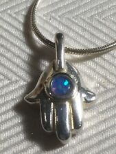 "Lovely Sterling Silver Hamsa Hand Lab Opal With 16"""" Snake Chain"