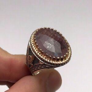 Turkish Ottoman Luxury Rock Ruby 925K Sterling Silver Men's Ring