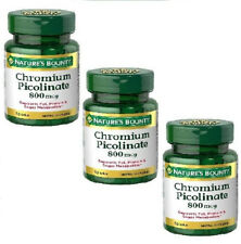 PACK OF 3 Nature's Bounty Chromium Picolinate 800 Mcg Mineral Supplement 150