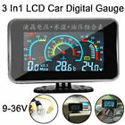3 In1 Lcd Car Digital Gauge Voltmeter Oil Pressure Water Temp Meter 18 Npt
