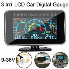 3 In1 LCD Car Digital Gauge Voltmeter Oil Pressure Water Temp meter 1/8 NPT