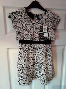 Girls Pogo Club Black & White Floral Party Dress Age 6X BNWT Sequins
