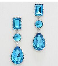 "3"" Long Aqua Blue Silver Aquamarine Austrian Crystal Dangle Pageant Earrings"