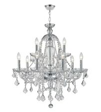 """12-Light Chrome Finish D28"""" H31"""" Thor Clear Crystal Chandelier 2 Two Tier"""