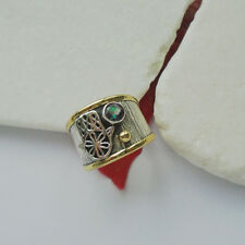 Mystic Topas Hamsa vergoldet Bandring Design Ring Ø 18,75 mm 925 Sterling Silber