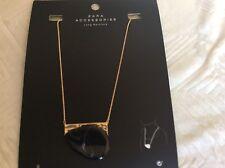 Zara Accessories Long Necklace W/ Black Stone W/ Swirl NEW