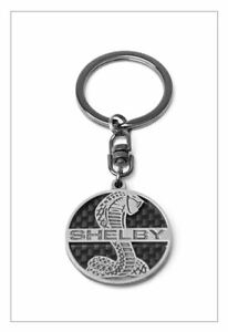 Carroll Shelby Signature Super Snake Cobra Carbon Fiber Key Chain Ford Mustang