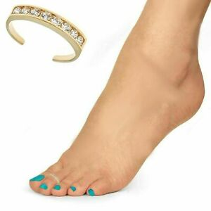 14k Yellow Gold Adjustable Elegant Sparkle Cut Body Jewelry Toe Ring Jewelry Gifts for Women