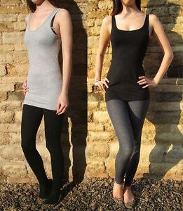 LONG LENGTH Ladies Womens  Vest Top Black Or Grey  UK 8 10 12 14 16 18 20