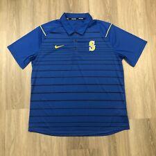 Nike Baseball Seattle Mariners Mens XL Blue Dri Fit Striped Polo Shirt Sewn Logo