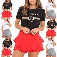 Ladies Womens Short Sleeve Print Slogan Liberte 1987 T Shirt Celeb Designer Top