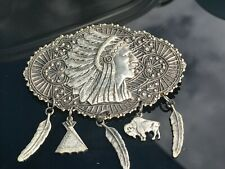 Native American Chief w/Charms Vintage Silver Pin Brooch D-3424
