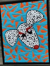 """Crazy Eyes"" Abstract Dalmatian Art Quilt Wall Hanging"