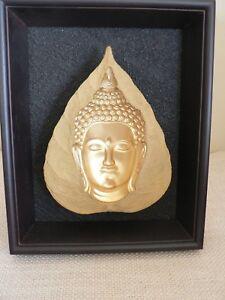 BOX FRAMED SANDSTONE ART,GOLD PAINTED BUDDHA
