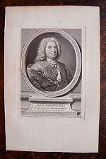 JEAN BERNOULLI . PROFESSEUR MATHEMATIQUES . PORTRAIT, GRAVURE ORIGINALE , 1760